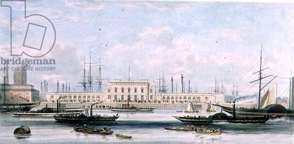 Blackwall Railway Terminus and Brunswick Pier, by Ranwell and Picken (coloured litho, c.1840)