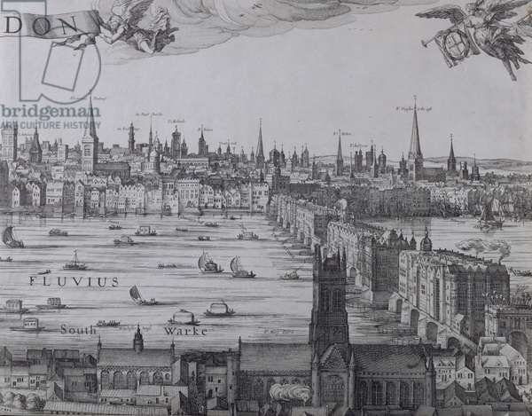 Panorama of London and the Thames, part three showing Southwark, London Bridge and the churches in the City, c.1600 (engraving) (see also 7214, 64730 & 64732)