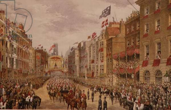 Temple Bar, Prince Edward and Princess Alexandra's procession before their marriage, 1863