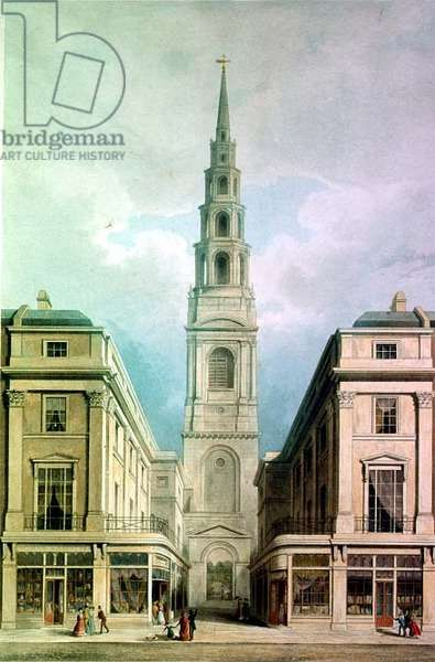 Fleet Street, Proposals for improvements at St. Bride's Avenue by J.B.Papworth (coloured aquatint published by Ackermann) 1825
