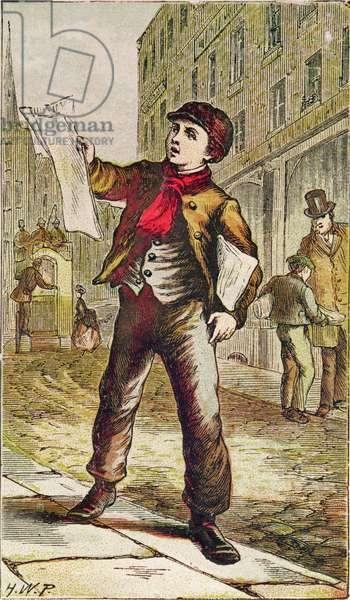 Newspaper Boy, etching by H.W.P., c.1870