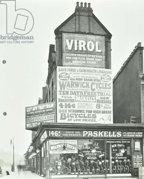 Paskell's Cycle Depot, London, 1912 (b/w photo)