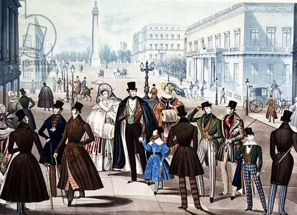 View of Carlton Terrace near the York Pillar from 'Winter Fashions for 1837' by B. Read and H. Bodmin (coloured litho)