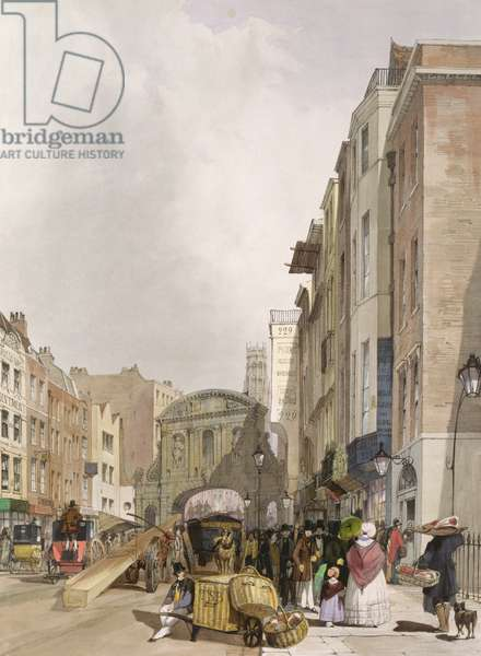 Temple Bar from the Strand, 1842 (colour litho)