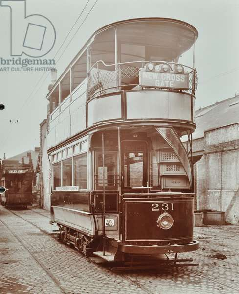 The 231 electric tram to New Cross Gate, 1907 (b/w photo)