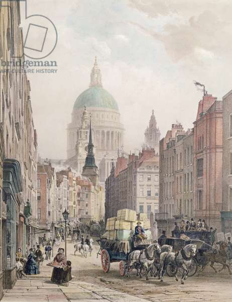 Fleet Street, c.1850 (colour litho)