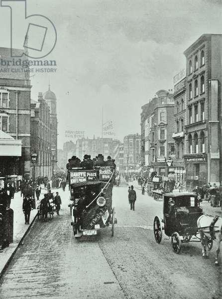 Bishopsgate: north from Liverpool Street, London, 1890 (b/w photo)