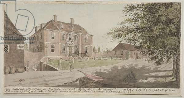 View of an ancient mansion at Greenland Dock in Rotherhithe, Bermondsey, 1796 (w/c on paper)