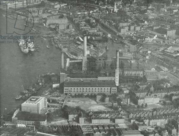 Battersea Power Station: aerial view, 1930 (b/w photo)