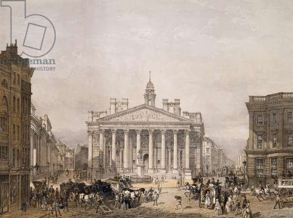 Royal Exchange and The Bank of England, pub. 1852 by Lloyd Bros. & Co. (lithograph)