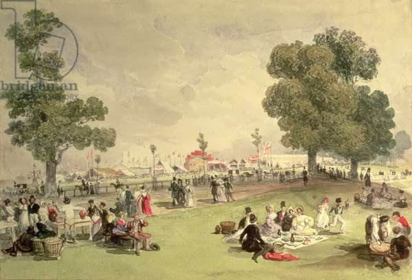 Hyde Park, view of the Coronation Fair, June 28, 1838 (w/c on paper)