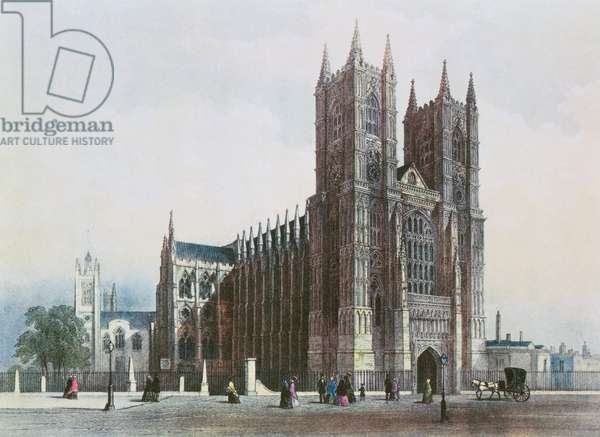 Westminster Abbey, from R. Ackermann's (1764-1834) Series Number 4 on London, c.1822 (aquatint)