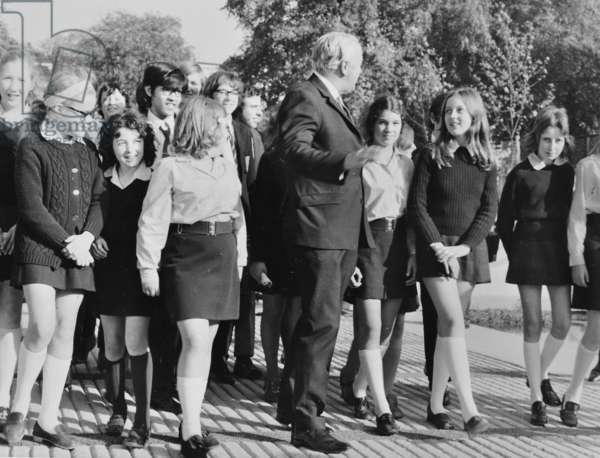 Harold Wilson talks to Pupils at Pimlico Secondary School, 1971 (b/w photo)