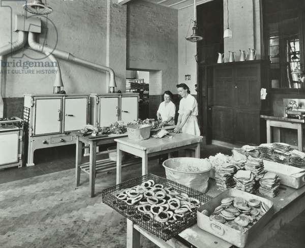 School meals being prepared, 1947 (b/w photo)