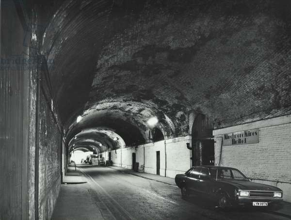 Weston Street: looking south beneath London Bridge Station arches, London, 1973 (b/w photo)