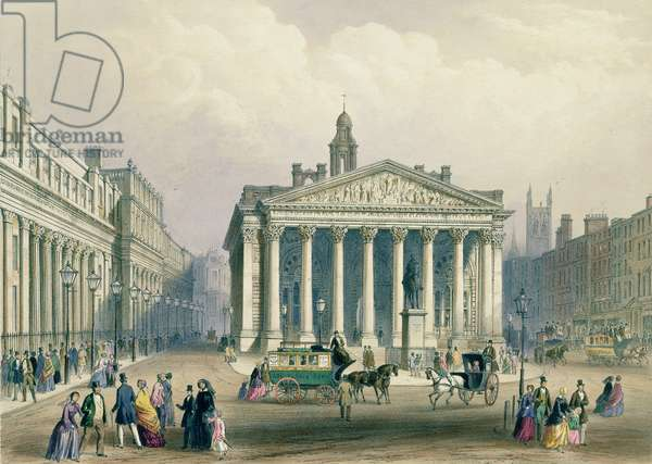 The Royal Exchange and the Bank of England, lithograph by T. Picken, printed by Day & Son., published by Rudolph Ackerman, 1851 (colour litho)