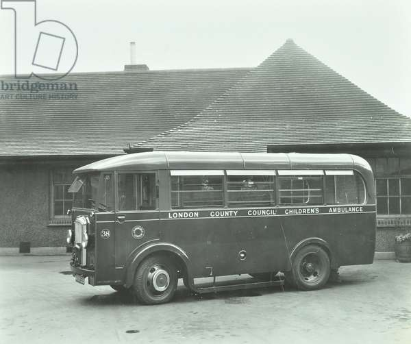 Holland Street Physically Disabled School: London County Council ambulance, 1935 (b/w photo)