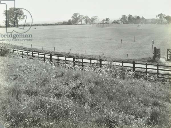 Watling Estate: sports ground, cricket pitch and pavillion, London, 1927 (b/w photo)