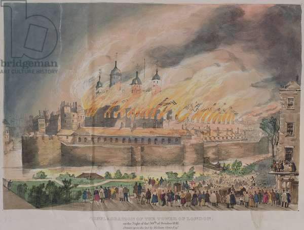 The Conflagration of the Tower of London, after W.Oliver, aquatint, 1841