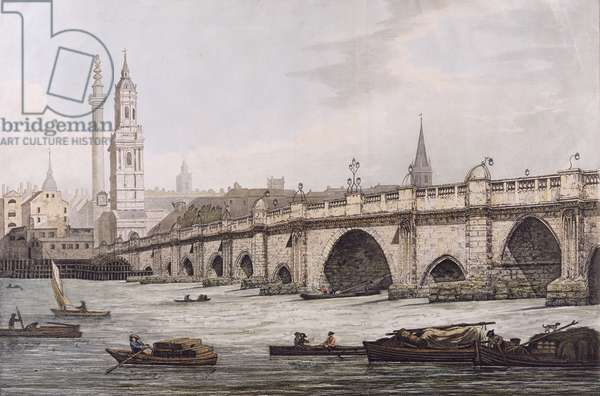 View of London Bridge, including the Church of St. Magus and The Monument, engraved by J.C. Stadler (etching)