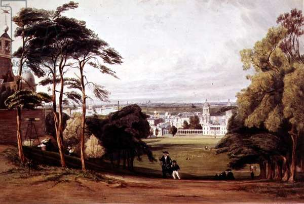 London from Greenwich, 1842 (litho)