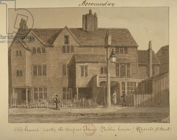 View of the Coopers' Arms Inn, Russell Street, 1828 (wash on paper)