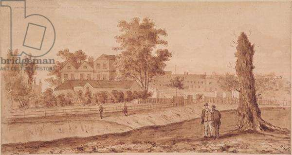 Stoke Newington Green, initialled 'H.F.', 1860 (sepia)