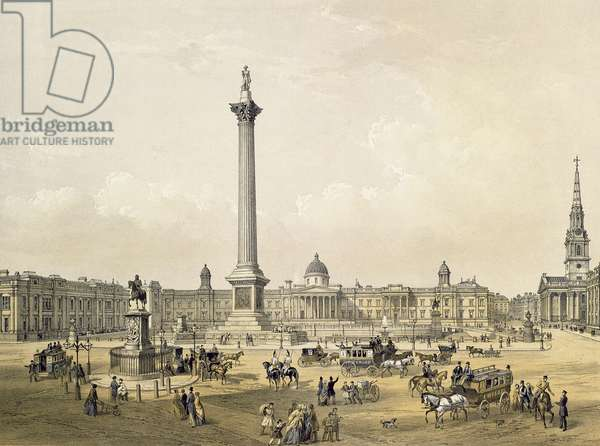 Trafalgar Square, with The National Gallery and St. Martin's Church, engraved by Thomas Picken (fl.1838-d.1870) pub. 1852 by Lloyd Bros. & Co. (lithograph)