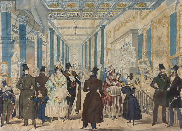 View in the Queen's Bazaar, London - Winter Fashions from Nov 1833 to April 1834, published by B.Read & Co., 1833 (aquatint on paper)
