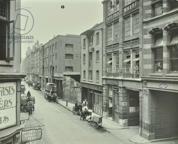 Upper Thames Street, south side, looking east, City of London, 1912 (b/w photo)
