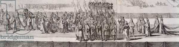 The Funeral Procession of Queen Mary II (1662-94) detail of the coffin, engraved by Romeyn de Hooge (1645-1708) 1695 (engraving)