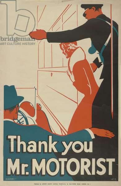 Thank You Mr Motorist, 1933 (colour litho)