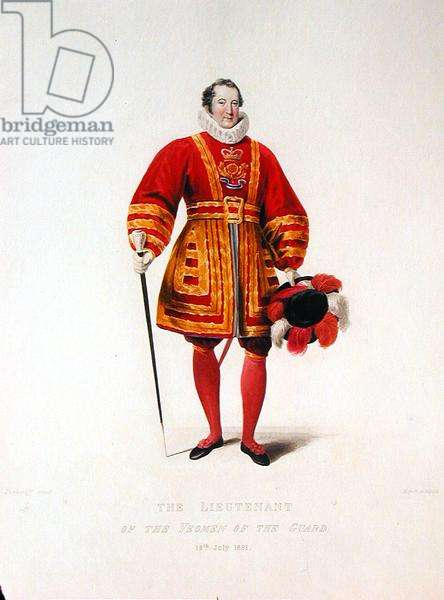 The Lieutenant of the Yeoman of the Guard, 19th July 1821, from 'The Coronation of His Most Sacred Majesty King George IV', published by Sir George Nayler in 1837 (colour mezzotint)
