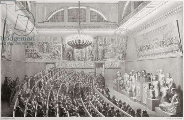 Sir Richard Westmacott (1775-1856) Presenting a Lecture on Sculpture at the Royal Academy of Arts, Somerset House in 1830, 1830 (litho)