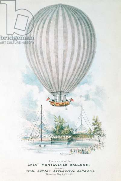 Ascent of the great Montgolfier Balloon, 1838 (colour litho)