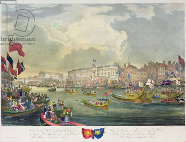 View of the River Thames during King William IV and Queen Adelaide opening London Bridge, engraved by William Day (1797-1845) 1831 (colour litho)