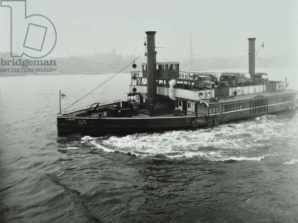 Woolwich Ferry: service boat, 1938 (b/w photo)