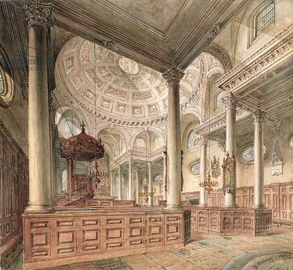 St. Stephen's Walbrook: Interior, 1811 (w/c)