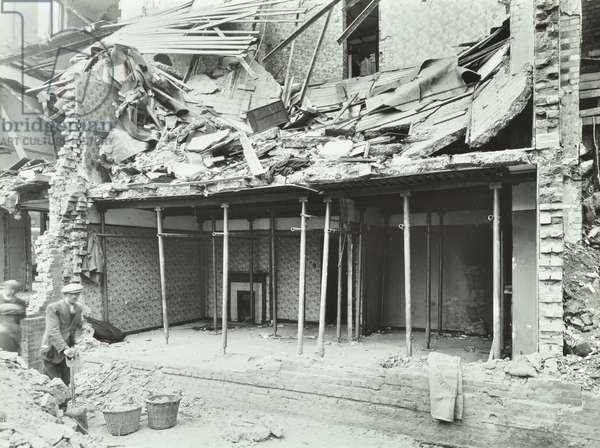 East Hill Estate: bomb damage, London, 1941 (b/w photo)