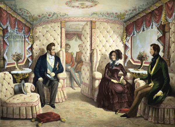 Interior of the Queen's Railway Carriage, engraved by Jules David (1808-92), c.1844 (litho)