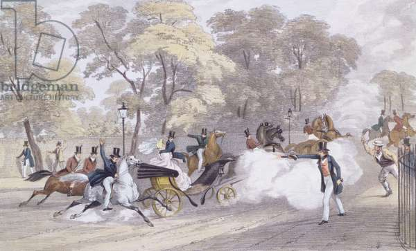 Edward Oxford's Attempt to Assassinate Queen Victoria and Prince Albert on Constitution Hill, on the evening of Wednesday 10th June, engraved by J. R. Jobbins, 1840 (colour litho)