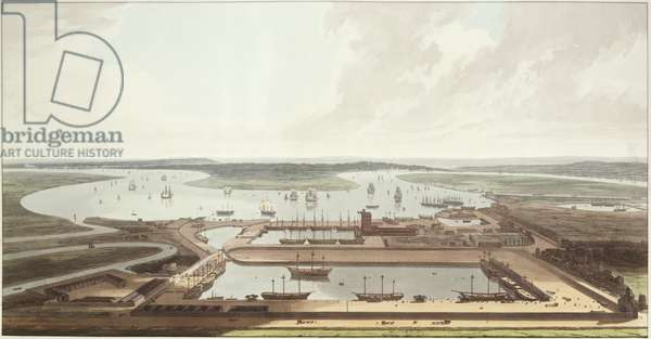View of the East India Docks, 1803 (aquatint)