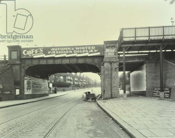 Well Hall Road: looking south by railway bridge, 1930 (b/w photo)