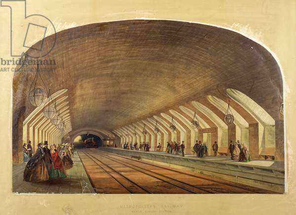 Metropolitan Railway, Baker Street Station, chromo lithograph by the Kell Brothers