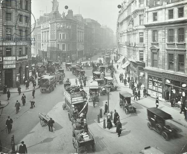 Cannon Street at Queen Victoria Street, City of London, 1912 (b/w photo)