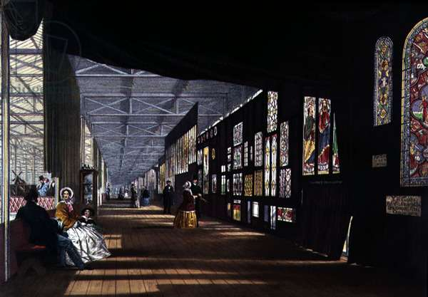 Great Exhibition: Stained Glass Gallery, 1851 by Joseph Nash (1809-78), litho