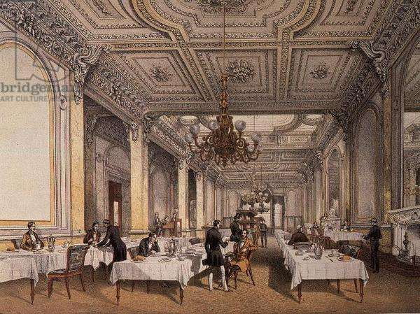 Coffee Room, the Army & Navy Club House, lithograph by R.K.Thomas, 1851