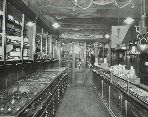 Freybourg and Treyer, 34 Haymarket, Westminster LB: shop interior, 1939 (b/w photo)