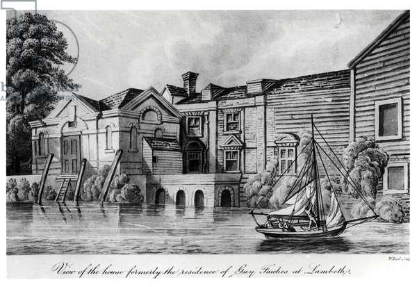 View of the House Formerly the Residence of Guy Fawkes at Lambeth, c.1850 (aquatint) (b/w photo)