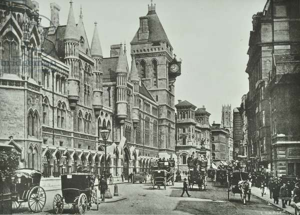 Royal Courts of Justice, Strand, Westminster LB: looking east by law courts, 1900 (b/w photo)